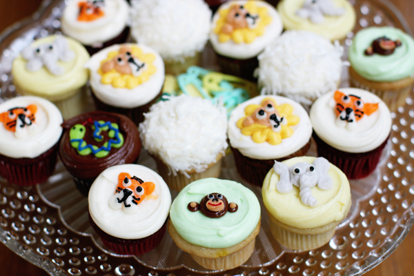 Safari animal cupcakes for jungle-themed baby shower