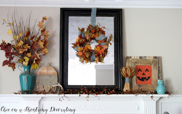 Fall Farmhouse fireplace mantle Decor Chic on a Shoestring Decorating Blog
