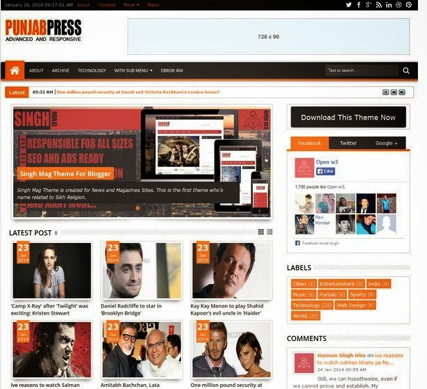 Punjab Press Responsive Blogger Template