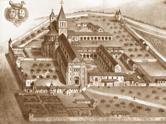 gravure reprsentant lancienne abbaye saint lucien de beauvais vers 1675 aglise saint lucien de