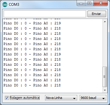 Serial monitor - dados sensor MQ-2