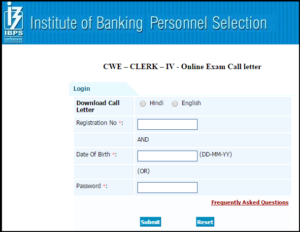 Download IBPS Clerk (CWE-IV) Online Written Examination 2014 Admit Card/Call letter & Information Sheet
