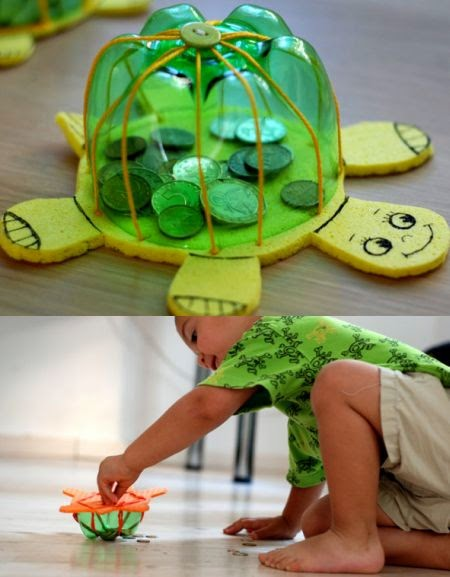 C mo hacer una tortuga reciclando botellas pet for Arts and crafts that make money