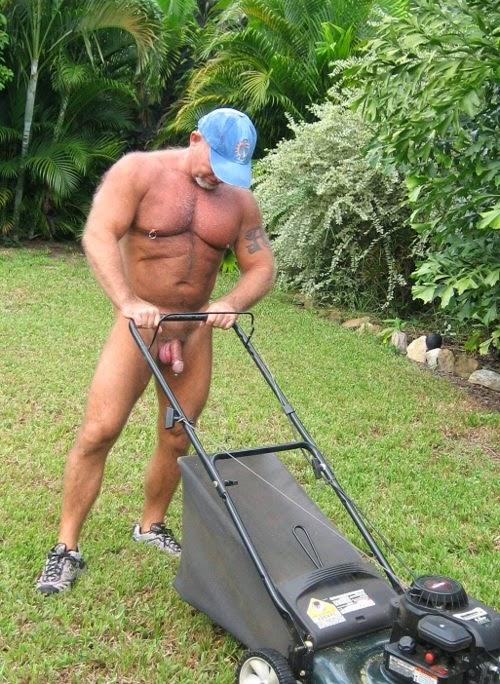 Something and nude girl yard work