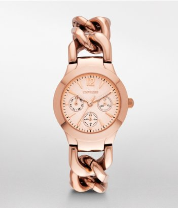 express multi function chain link watch rose gold
