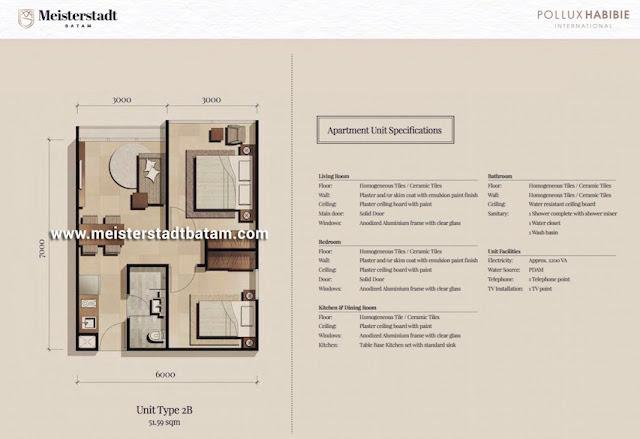 Apartemen Meisterstadt Batam - Wunderbar Residences Tipe 2 BR