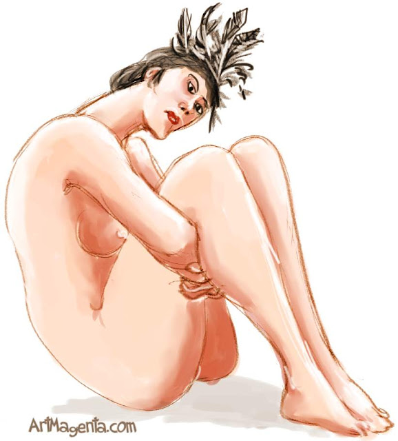 Fascinator is a life drawing by artist and illustrator Artmagenta