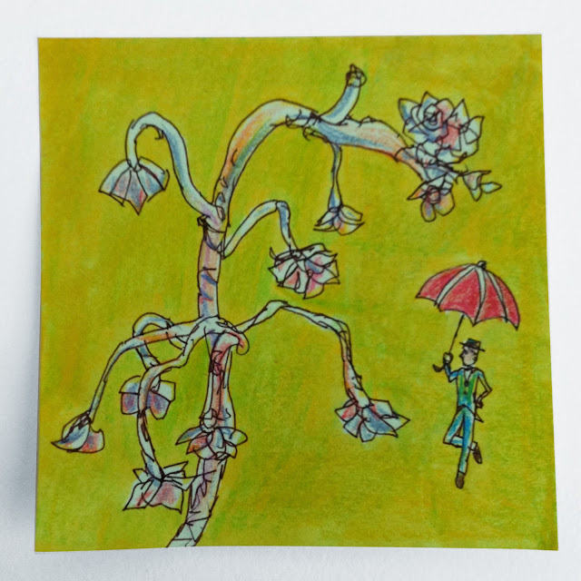 "shiho nakaza ""post-it art"" nature sketch pencil marker pen"