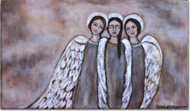 Zorana painting art angels wings mixed media