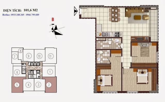 Tòa D Chung cư Golden Silk - Kim Văn Kim Lũ - Vinaconex2, Căn 101,6m2