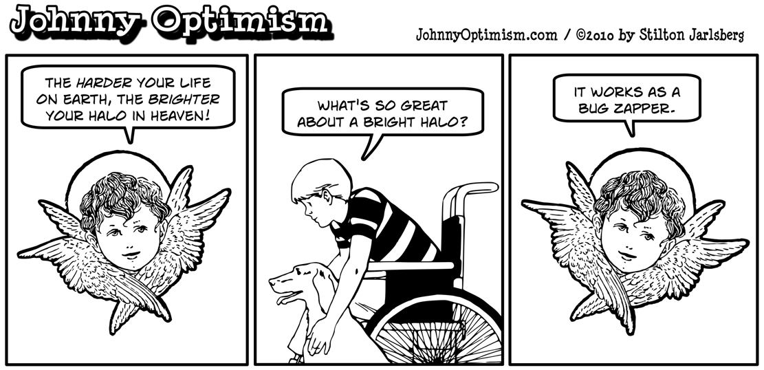 Johnnyoptimism, johnny optimism, medical humor, stilton jarlsberg, halo, angel