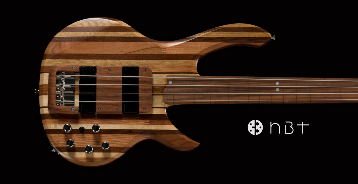 Electric bass made from scraps of wood