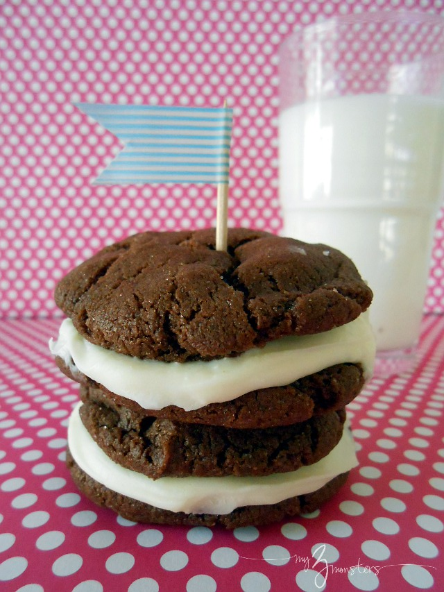 How to make Chocolate Cake Mix Cookies {Homemade Oreos} at my3monsters.com