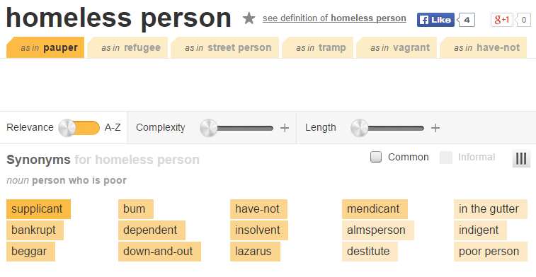 thesaurus.com - homeless person - negative connotations - snip