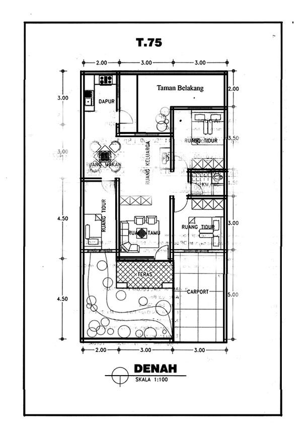 rumah minimalis type 75 3 kamar tidur 1 kamar mandi