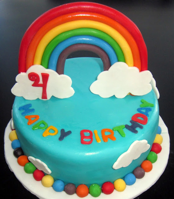 Darlin  Designs: Rainbow Birthday Cake