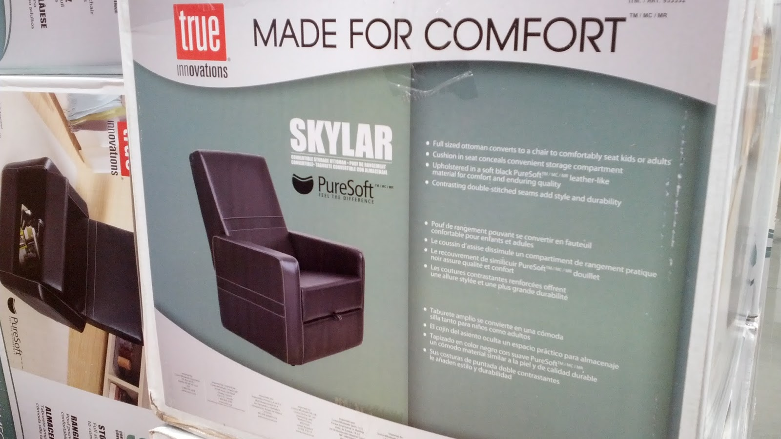 True Innovations Skylar Gaming Chair Ottoman u2013 Full sized ottoman converts to chair & True Innovations Skylar Convertible Storage Ottoman and Gaming Chair ...