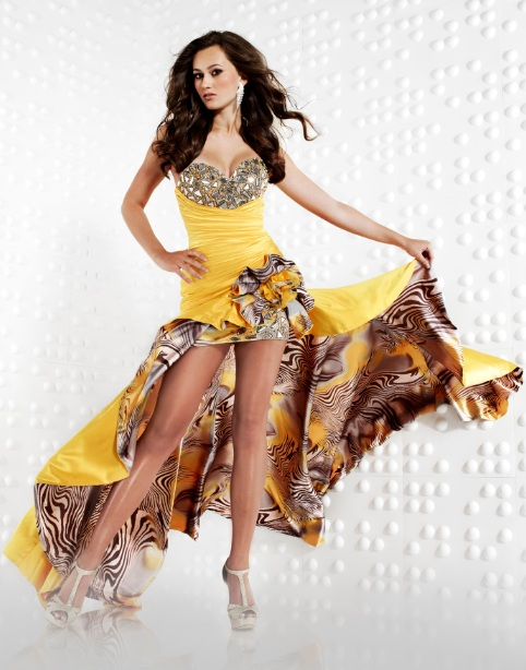 strapless sweetheart yellow high low prom dress with print design
