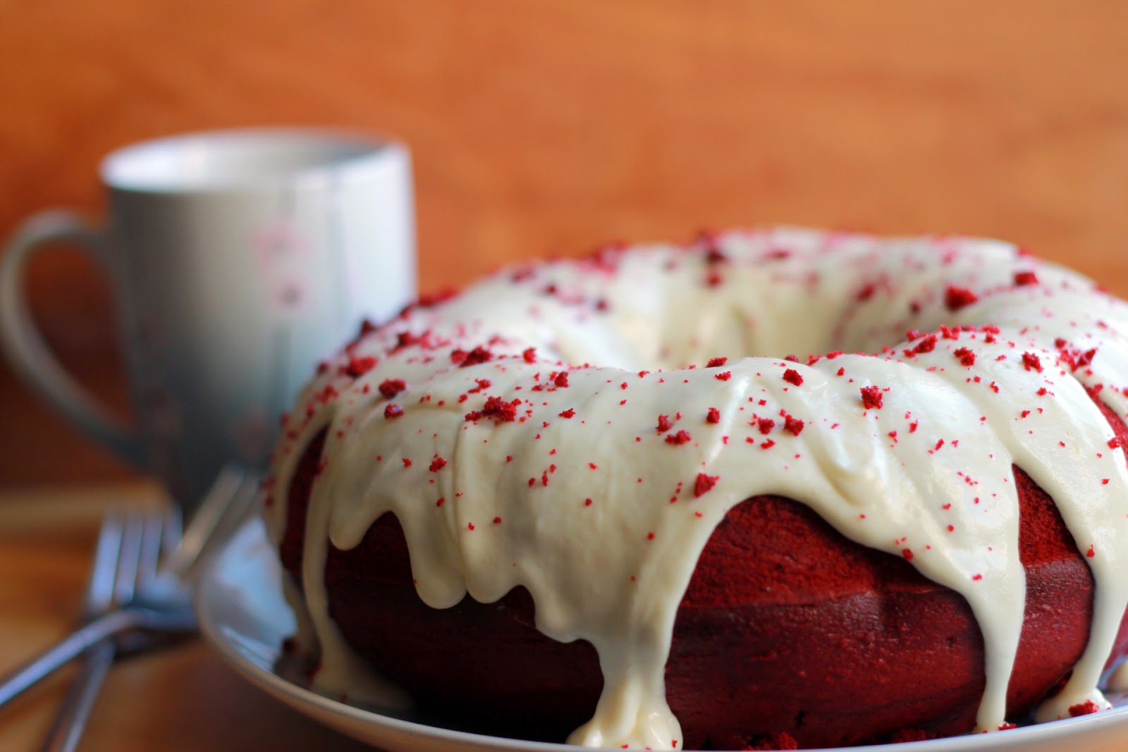 RED VELVET BUNDT CAKE WITH CREAM CHEESE ICING ~ GIRLS DISH