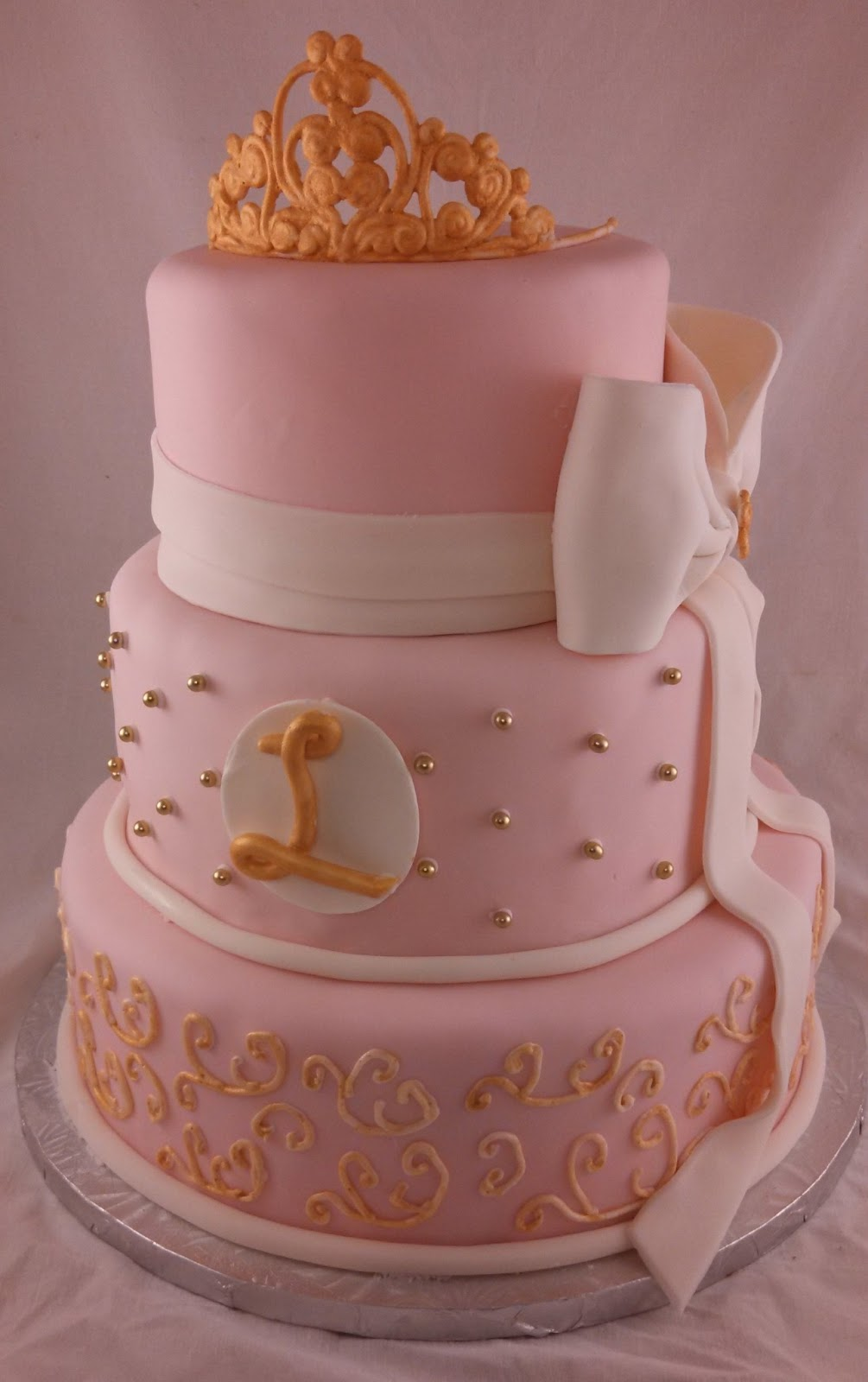 sugar spice sweets pink and gold baby shower cake