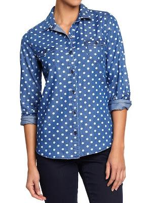 chambray shirt, chambray, polka dots, denim shirt, denim polka dots