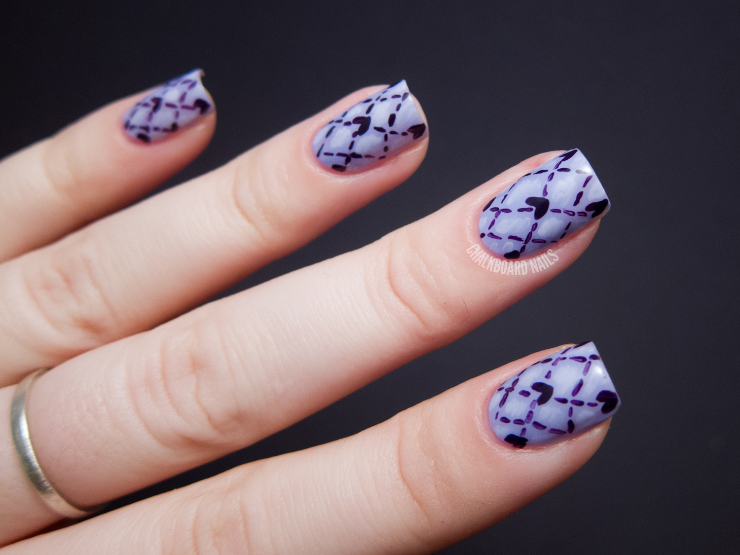 Lovely Quilting - OPI Euro Centrale Nail Art Chalkboard Nails Nail Art Blog