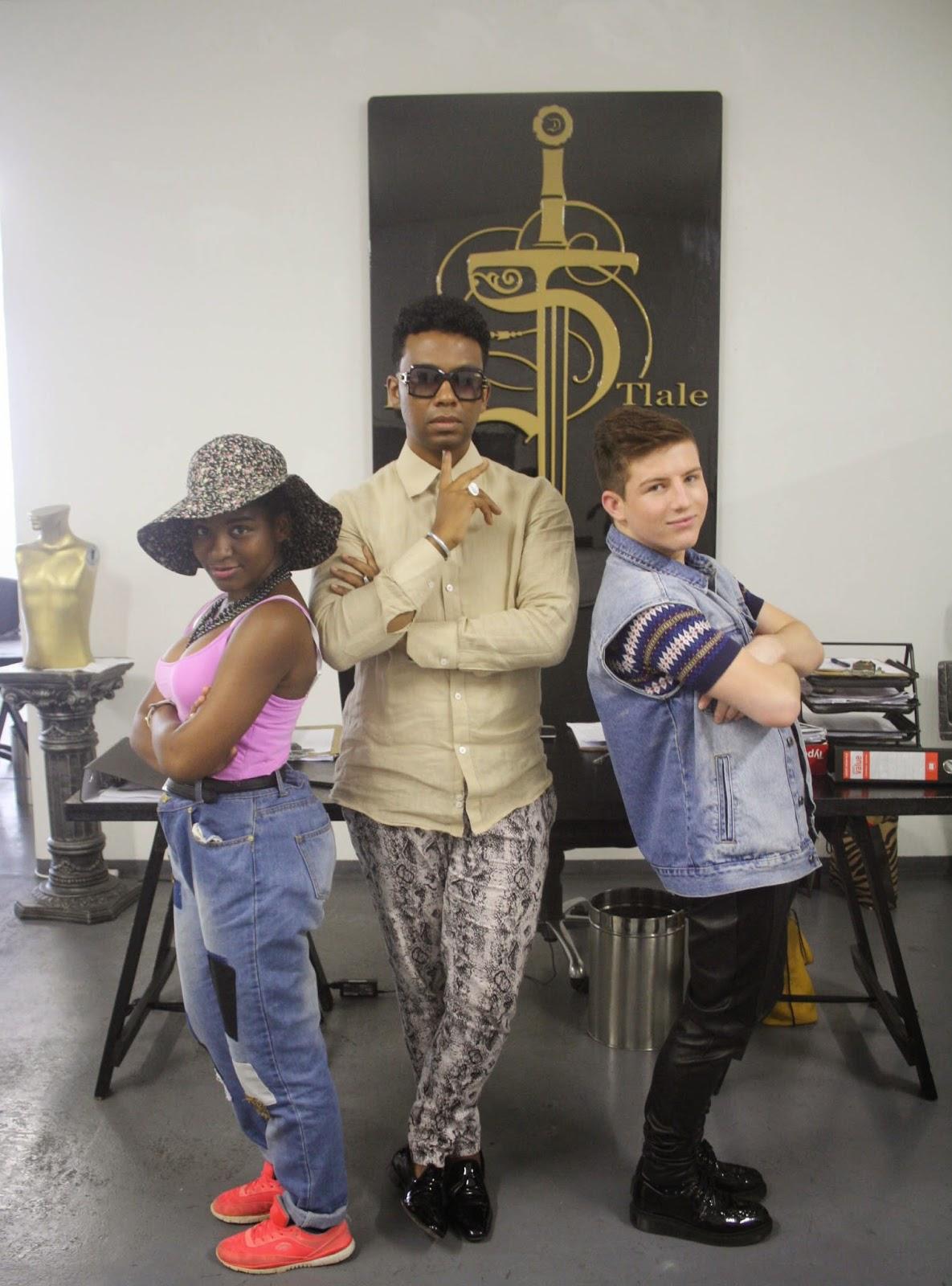David Tlale, Khensani Mohlatlole and Josh Lubinsky in his Maboneng studio