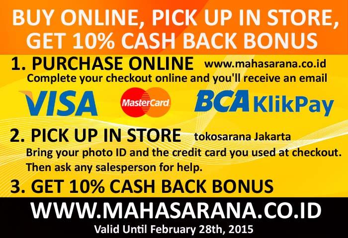 buy online, pick up in store, get 10% cash back bonus