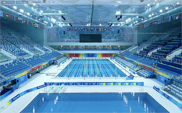 Home mee swimming at the 2008 beijing 39 s olympic pool for Olympic swimming pool pictures