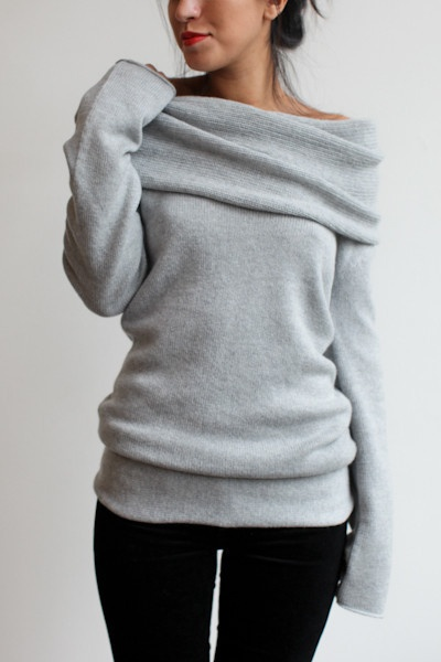 Stylish grey sweater and black pants for ladies