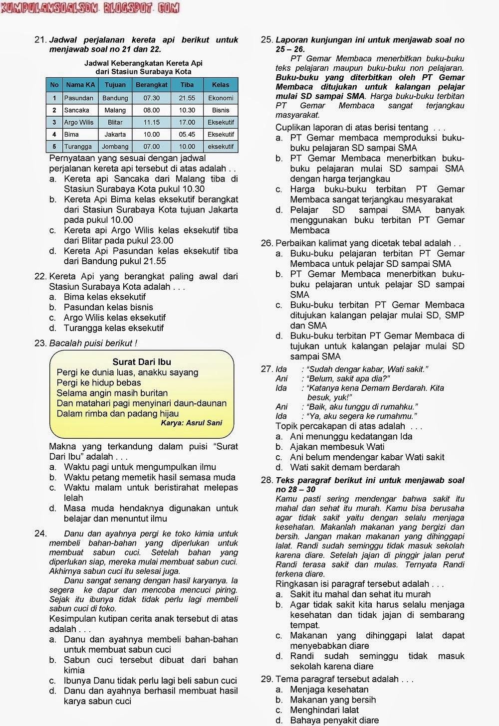 Soal Prediksi Un Us Try Out Bahasa Indonesia Dan Kunci Kelas 6 Vi Sd Paket 1 Ta 2011 2012