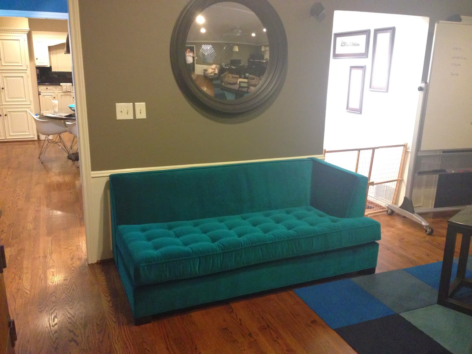 Glorious Gay Days Teal Velvet Couch