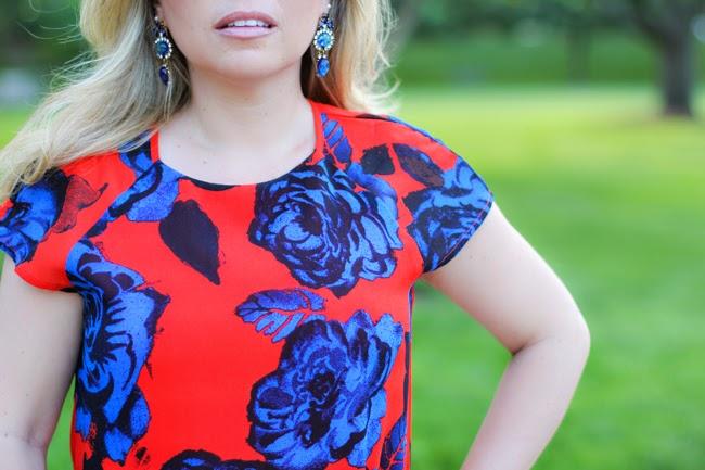 asos orange dress with blue flowers