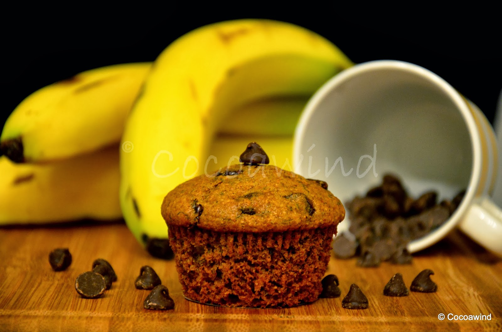 Whole-wheat Banana Muffins with Chocolate Chips