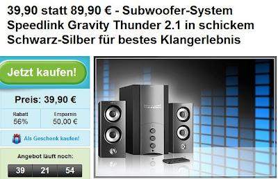 Subwoofer-System Speedlink Gravity Thunder 2.1 bei groupon für 44,80 Euro