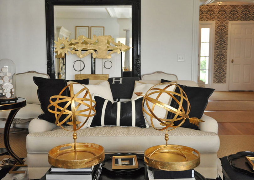 The together project living dining area Black white gold living room