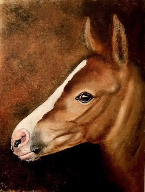 oil painting of a foal on linen