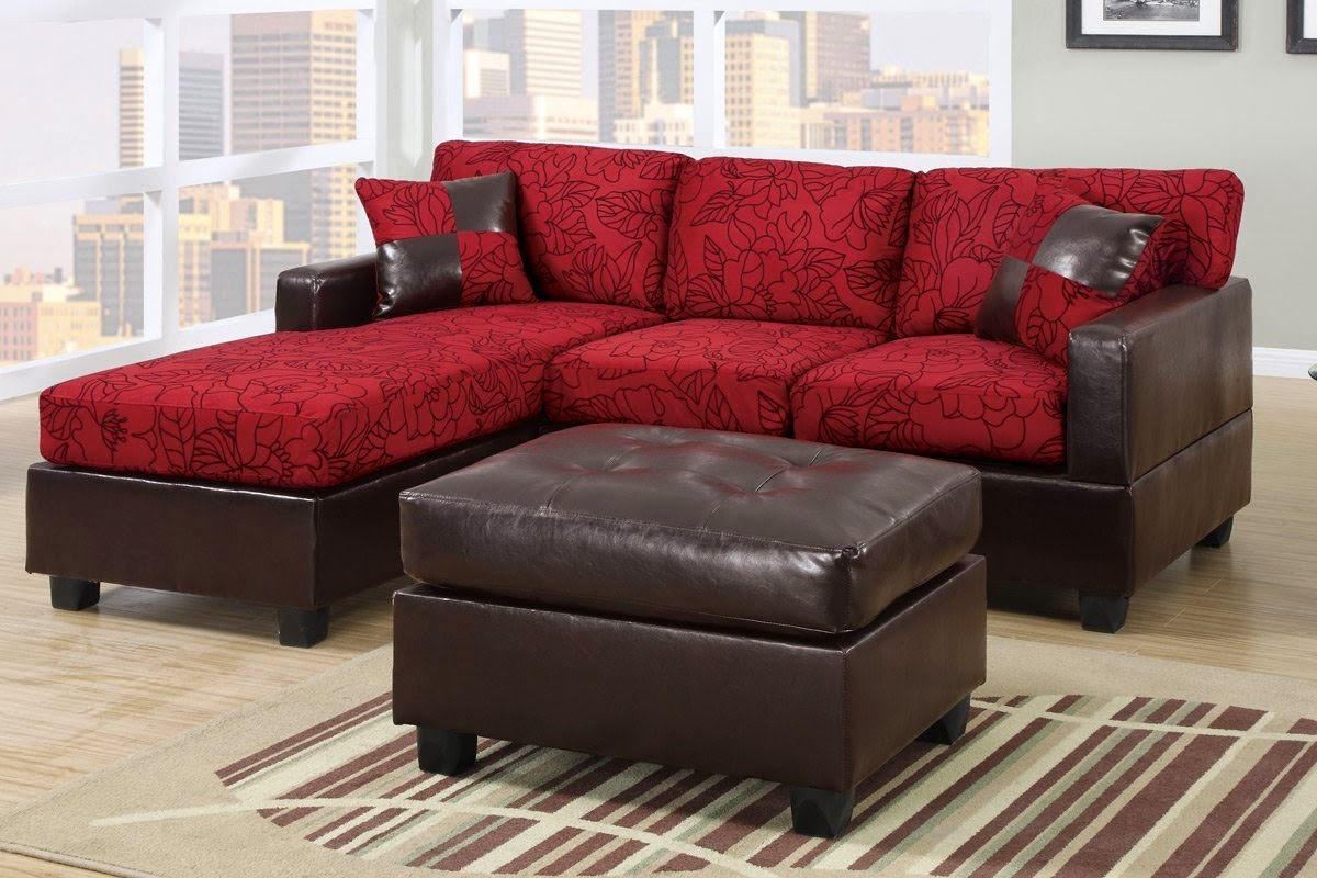 red 3piece fabric printed sectional couches set