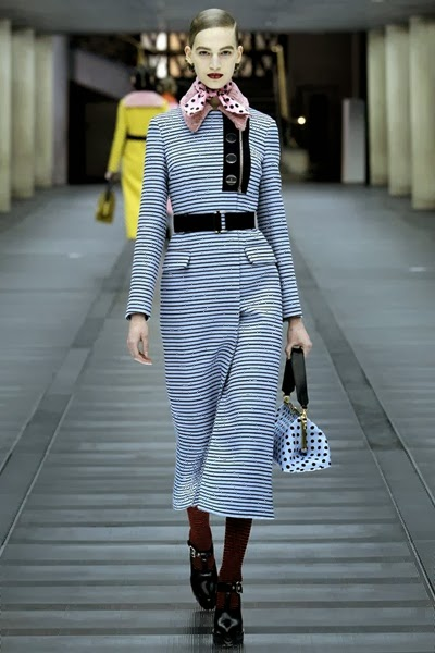 Miu Miu Fall 2013 RTW Blue Striped Jacquard Coat