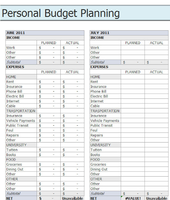 Personal Budget Worksheet Free Download - personal budget spreadsheet ...