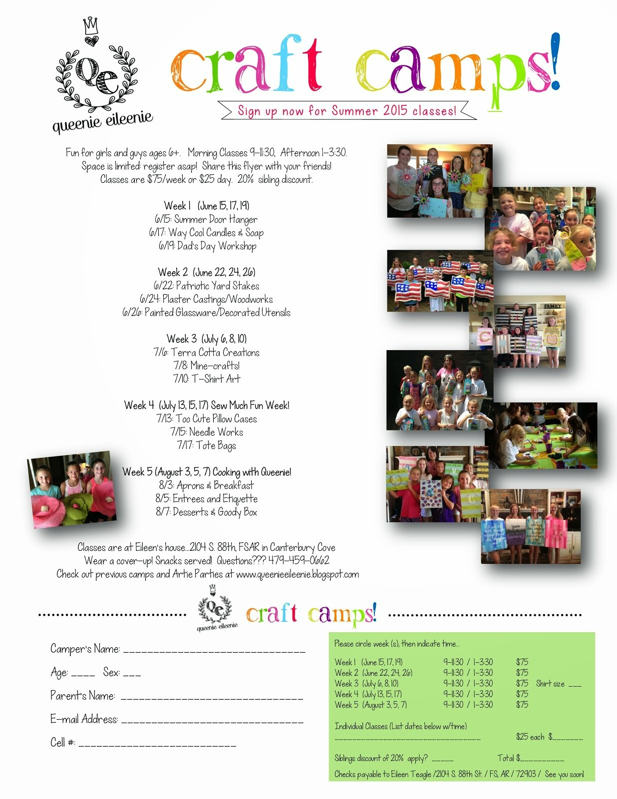 Queenie's Craft Camps 2015!!!