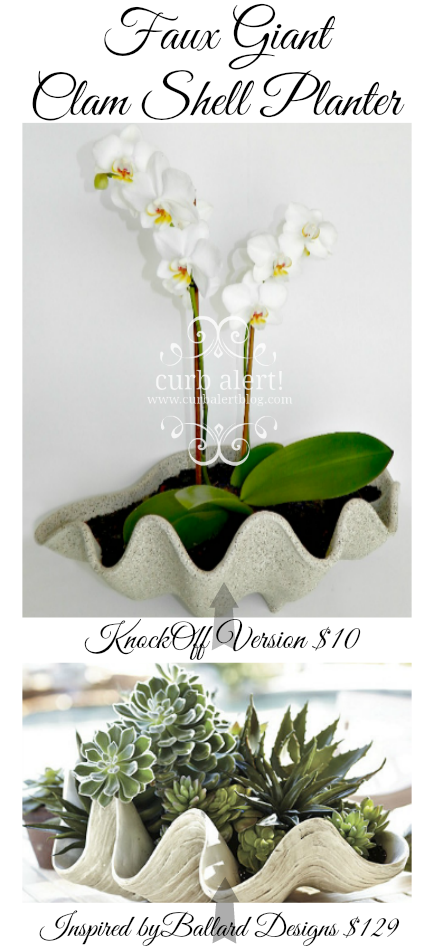 Ballard Designs Inspired Faux Giant Clam Shell Planter. A great high-end knockoff for a fraction of the price!  via Curb Alert! Blog www.curbalertblog.com