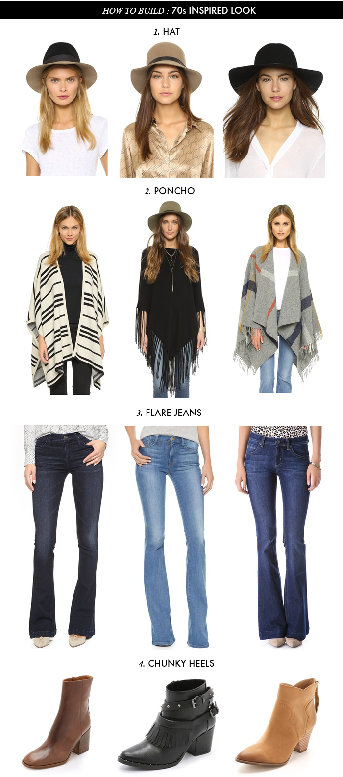 ponchos, flare jeans, flares, flared, chunky heels, fall 2015 trends