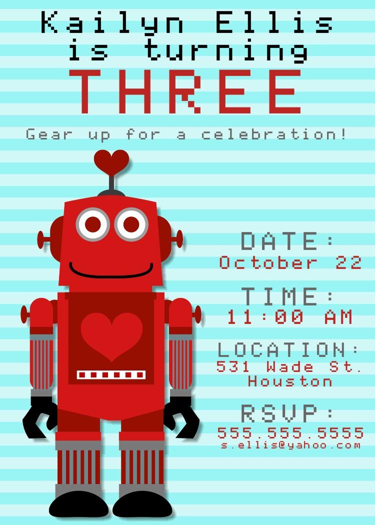 Bear River Photo Greetings: Robot Birthday Party Invitation for Boys ...