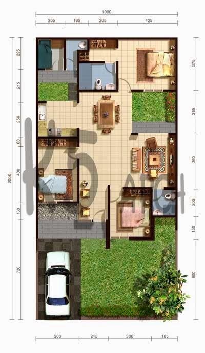 Denah denah rumah minimalis 2 kamar