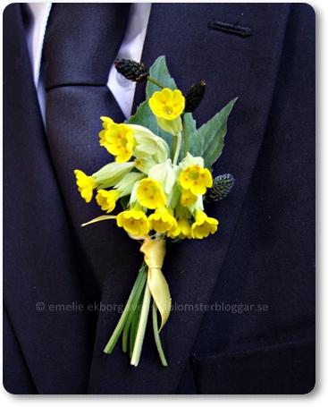 corsage, gult corsage, corsage med gul blomma, gullvivor bröllop, brudbukett med gullvivor
