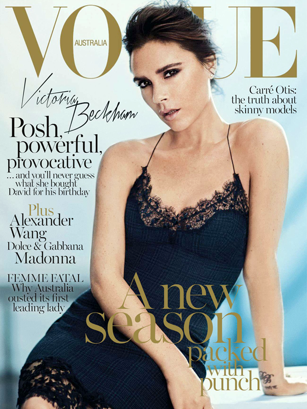 Revista Vogue Austrália Victoria Beckham Slip Dress Setembro 2013