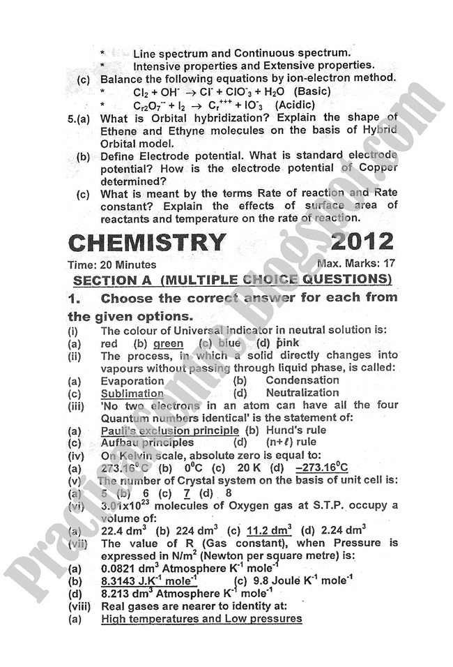 chemistry-2012-five-year-paper-class-XI