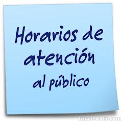 HORARIOS DE ATENCIÓN AL PÚBLICO