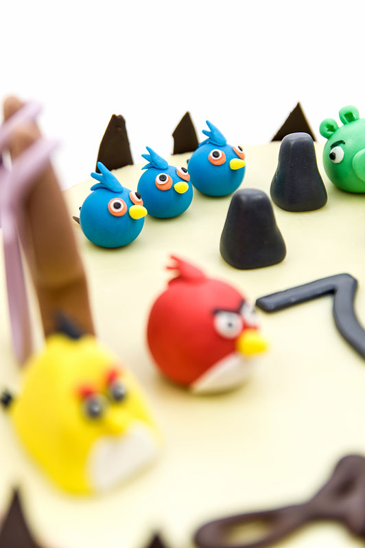 Angry birds chococlate cake fondant toppers blue birds fokus